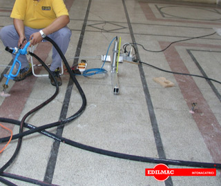 controlled pressure injection with cement on the flooring