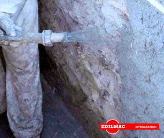 spraying of special renders on the duct